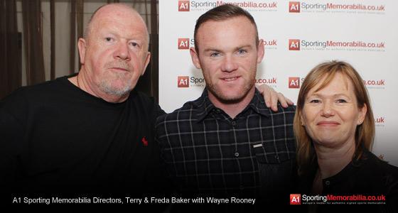 A1 Sporting Memorabilia Directors Terry & Freda Baker With Wayne Rooney