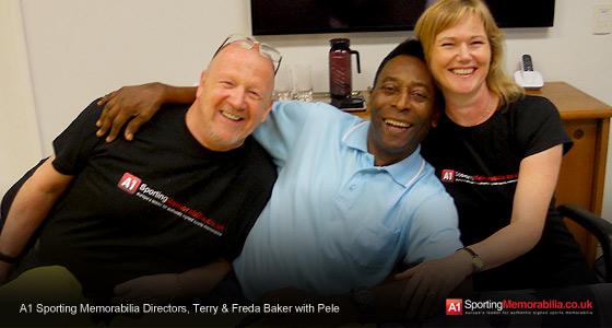 A1 Sporting Memorabilia Directors, Terry & Freda Baker with Pele