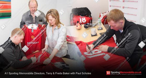A1 Sporting Memorabilia Directors, Terry & Freda Baker with Paul Scholes