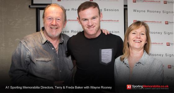 A1 Sporting Memorabilia Directors, Terry & Freda Baker with Wayne Rooney
