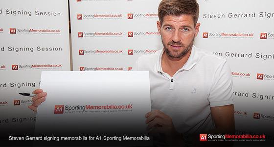 Steven Gerrard signing memorabilia for A1 Sporting Memorabilia