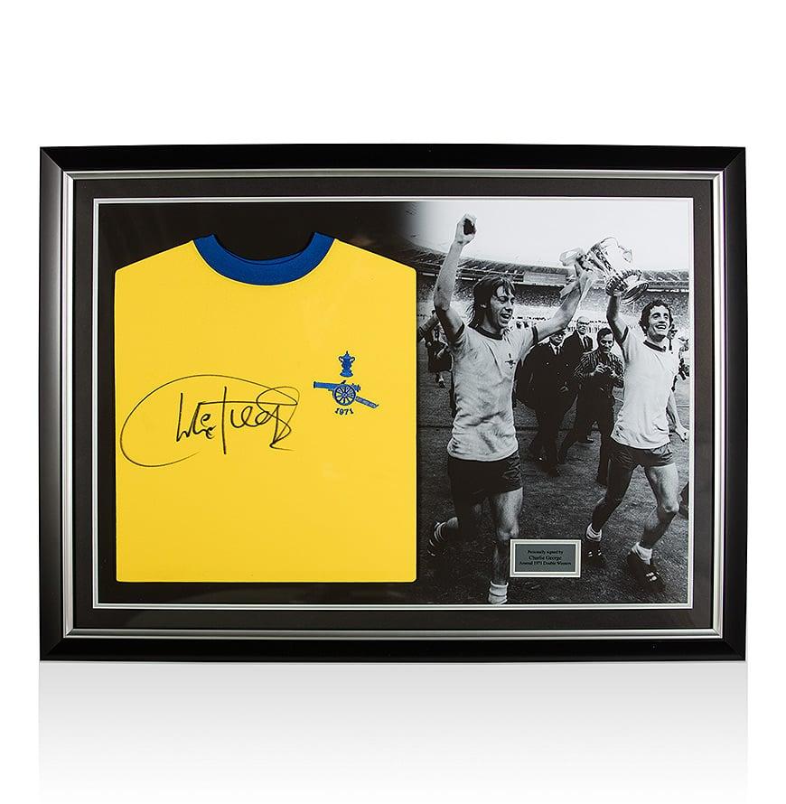 Charley George Signed Arsenal Shirt – Panoramic Framing