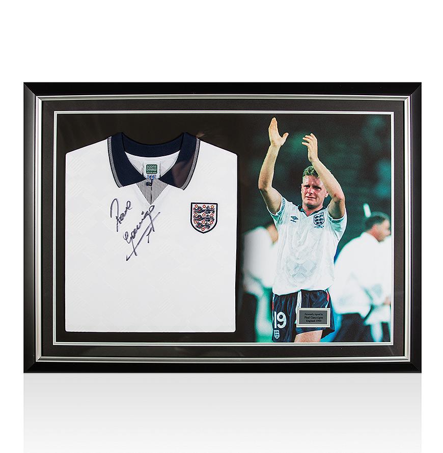 Paul Gascoigne Signed Englandl Shirt – Panoramic Framing