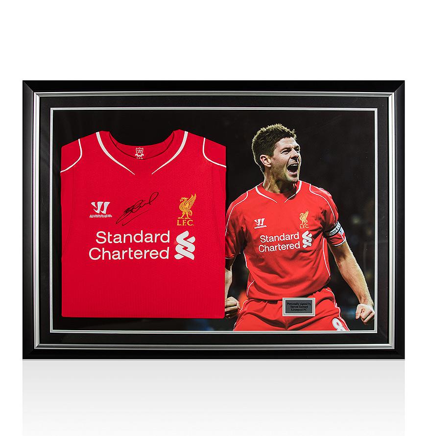 Steven Gerrard Signed Liverpool Shirt - Panoramic Framing