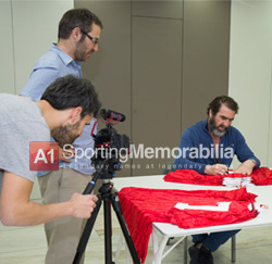 A1 Sporting Memorabilia filming Eric Cantona private signing session.